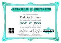 Certificate for Dakota Buttery