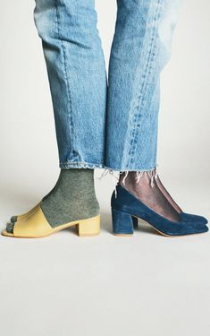 Maryam Nassir Zadeh Tan Calf Sophie Slide & Denim Suede Maryam Pump