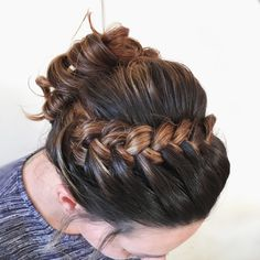 Lace braid curly updo