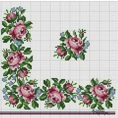 This Pin was discovered by Ber Cross Stitch Rose, Cross Stitch Borders, Cross Stitch Flowers, Cross Stitch Designs, Cross Stitching, Cross Stitch Embroidery, Embroidery Patterns, Hand Embroidery, Cross Stitch Patterns