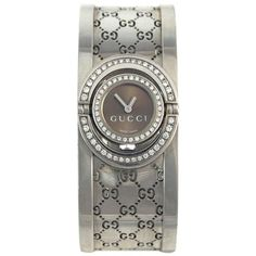 51df0798baf Gucci Ladies Stainless Steel 112 Twirl Cuff with Diamond Bezel Wristwatch
