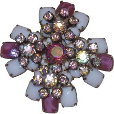 ..Unsigned Schreiner Brooch in White Milk Glass with Givre Glass and Rhinestones..