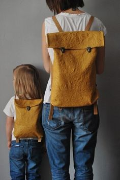 mustard yellow simple backpack set