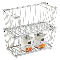 Small Silver York Open Stack Basket - for fruits and veggies in the pantry