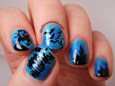 Haunted Nighttime Nail Art | Spellbound Nails