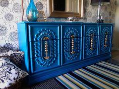 Re-tiqued by:: Striking Turquoise Dresser Funky Furniture, Refurbished Furniture, Paint Furniture, Repurposed Furniture, Unique Furniture, Furniture Projects, Furniture Design, Diy Dresser Makeover, Furniture Makeover