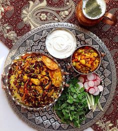 zereshk polo /زرشک پلو / barberry rice | torshi / pickles | sabzi / fresh herbs | yogurt | doogh