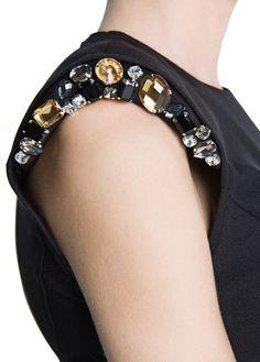 MANGO - Shoulder padded crystals dress