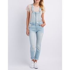 Refuge Skinny Destroyed Denim Overalls ($40) ❤ liked on Polyvore featuring jumpsuits, rompers, light wash denim, denim short overalls, short overalls, skinny overalls, denim bib overalls and denim rompers