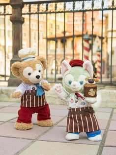 Duffy the Disney Bear and Gelatoni dressed up as pastry chefs. What's cookin', good lookin'?