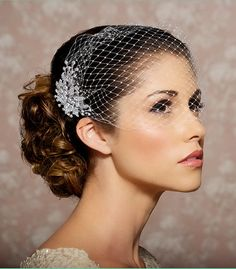 Bridal Veil and Bridal Comb, Bandeau Birdcage Veil, Blusher Bird Cage Veil - READY TO SHIP - Rhinestone Fascinator Comb - The Simona Veil