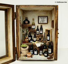 Vintage Antique wine house No2 wood box display by DollhouseAra,