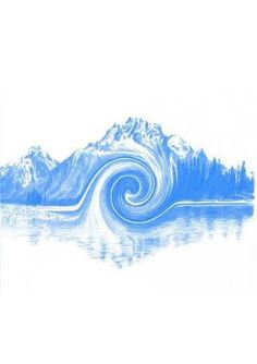 Image result for negative space mountain and wave