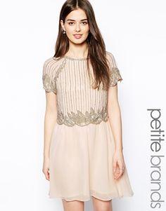 Enlarge Little Mistress Petite Bead Embellished Double Layered Dress