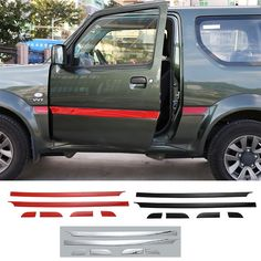 71.50$  Watch now - 6 PCS/SET ABS Exterior Outer Car Body 2 Doors Side Decorative Sticker Moulding Trim Car Cover Styling for Suzuki Jimny 2008 up  #magazine