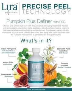 It's pumpkin season! Treat your skin to a refreshing and skin revitalizing Lira Clinical Pumpkin treatment this weekend! Discover what makes our pumpkin treatment so special. http://www.liraclinical.com/product-details/pumpkin%20plus%20definer%20with%20psc%20-%204oz/