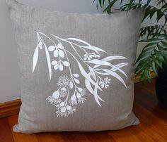 Linen Cushion Cover Screen Printed Linen Cushion Cover Hand