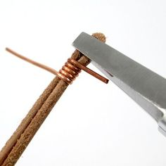 Wire wrapping cord end for Safari Leather Bracelet for Guys and Gals - tutorial by Rena Klingenberg