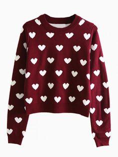 Cropped heart sweater-yesyesyes