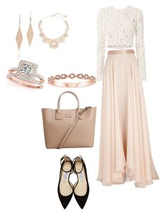 """Pink and floral"" by safiyat-aminu on Polyvore featuring Lanvin, A.L.C., Jimmy Choo, MANGO, Allurez, Tiffany & Co. and Kate Spade"