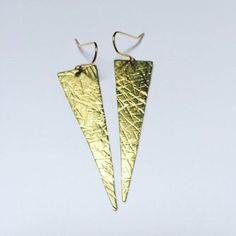 Long Crosshatched Triangle Earrings are back in stock 🙌🙌🙌 Triangle Earrings, Drop Earrings, Geometric Jewelry, Gold Cross, Geometric Shapes, Brass, Texture, Jewellery, Etsy