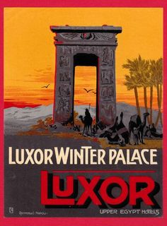 Vintage Luxor Winter Palace Hotel, Luxor, Egypt luggage label