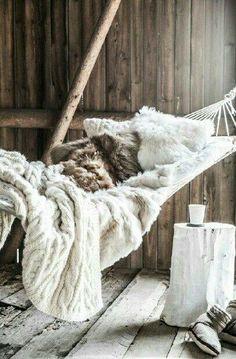 comfy hammock for the back deck ... love the fur blanket.