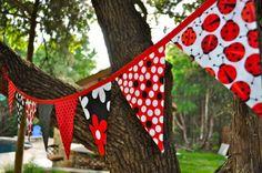 Fabric Ladybug pennant banner bunting, ladybug birthday party, bedroom, playroom decor, photo prop