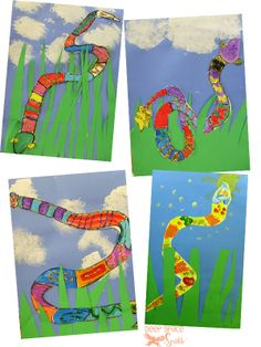 Snakes in the Grass draw a snake, paint or color a pattern to cover the snake. Cut out grass and glue to blue paper. Weave the snake between the blades of grass. sponge or shade clouds Kindergarten Art, Preschool Art, Spring Art, Summer Art, School Art Projects, Art School, Snake In The Grass, 2nd Grade Art, Grade 2