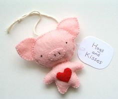 Pig Ornament Funny Christmas Ornament Gift Cute Pig Felt Pig Hogs and Kisses! https://www.etsy.com/ca/listing/559910694/pig-ornament-funny-christmas-ornament?ref=shop_home_active_1
