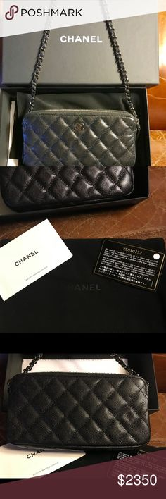New in box Authentic Chanel Black WOC caviar! Bought at Chanel! Have receipt and everything! Box, dust bag, booklets, authenticity card. Double zip - black Caviar Irridesent Black. Stunning - long Crossbody with detachable chain. Fits any phone in middle area. Two zip compartments. A beauty! CHANEL Bags