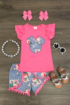Hot Pink Floral Minnie Pom Pom Short Set