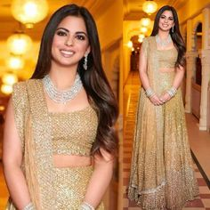 Image may contain: 2 people, people standing Designer Bridal Lehenga, Indian Bridal Lehenga, Indian Bridal Fashion, Golden Lehnga, Nita Ambani, Saree Draping Styles, Lahenga, Elegant Saree, Lehenga Designs