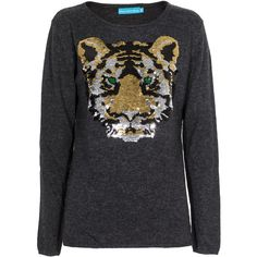 Planet with 2 Moons Tiger Head Anthracite Sequin embroidered sweater found on Polyvore featuring polyvore, women's fashion, clothing, tops, sweaters, leather sweater, cosmic sweater, ribbed sweater, leather top and embroidery top