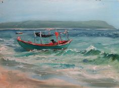 Buy Prints of Sok San, a Oil on Cardboard by Olga Shmykova from Russia. It portrays: Landscape, relevant to: beach, sea, seascape, boat, cambodia, nature I love cambodian nature. This etude was created on a lonely beach on Koh Rong island