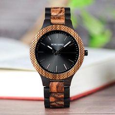 05f384800a66 Men s Wooden Two-tone Zebra Wristwatch with Luminous Hands