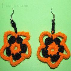 Black and orange crochet flower earrings. Unique Earrings, Flower Earrings, Earrings Handmade, Crochet Earrings, Crochet Flowers, Orange, Color, Black, Jewelry