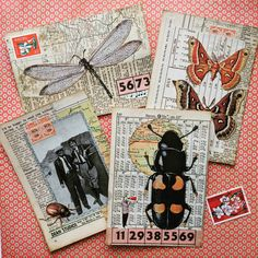 ostcards with an insect theme. Paper Collage Art, Collage Book, Paper Art, Shabby Chic Paper, Bullet Journal Art, Junk Journal, Playing Cards Art, Glue Book, Postcard Art
