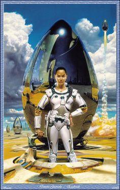 Donato Giancola Eggheads, science fiction woman, futuristic, futuristic suit, pilot, futuristic clothing 70s Sci Fi Art, Sci Fi Characters, Science Fiction Art, Fantastic Art, Awesome Art, Steam Punk, Space Girl, Space Age, Sci Fi Fantasy