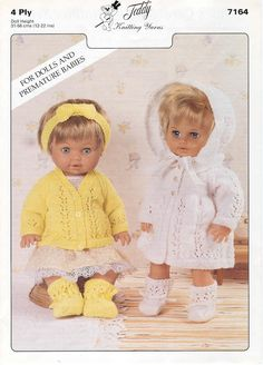 Spectrum 7145 baby dolls matinee coat and cardigan vintage knitting pattern Knitting Dolls Clothes, Baby Doll Clothes, Crochet Doll Clothes, Knitted Dolls, Doll Clothes Patterns, Doll Patterns, Clothing Patterns, Baby Dolls, Knitting Toys