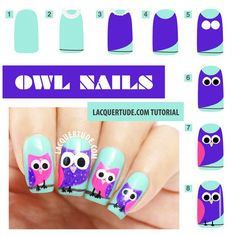 Owl Nail Art - Step by Step #Lacquertude #tutorial #owlnails