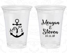Anchor Wedding, Imprinted Disposable Cups, Nautical Wedding, Monogram Wedding, Soft Sided Cups (14)