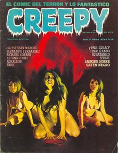Creepy was an American horror-comics magazine launched by Warren Publishing in Like Mad magazine, it was a black-and-white newsstand publication in a magazine format and thus did not require the approval or seal of the dreaded Comics Code … Creepy Horror, Sci Fi Horror, Horror Art, Horror Books, Horror Films, Scary, Space Ghost, Sci Fi Comics, Horror Comics