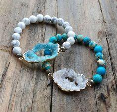 Natural Stone Druzy Bracelet