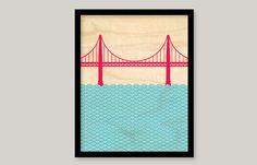 Otsutree Golden Gate Bridge Unframed by otsutree on Etsy, $35.00