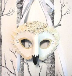 Snowy Owl Leather Mask Adult Size Made to by SundriesAndPlunder