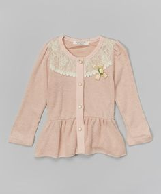Another great find on #zulily! Pink Lace Peplum Cardigan - Toddler & Girls #zulilyfinds