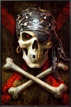 Skull art: Pirate flag by Anne Stokes Anne Stokes, Pirate Art, Pirate Skull, Pirate Life, Pirate Ships, Pirate Flags, Art Harley Davidson, Totenkopf Tattoos, Bild Tattoos