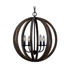 Feiss F2935/4 Allier 4 Light Large Foyer Chandelier Weathered Oak Wood ($553) ❤ liked on Polyvore featuring home, lighting, ceiling lights, chandeliers, indoor lighting, wood chandeliers, wood light, wood chandelier lighting, wooden ceiling lights and wooden chandeliers