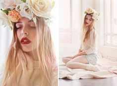Les Enfants Fleur by Amy Scheepers, via Behance Tips For Oily Skin, Flower Headpiece, Headdress, Imperfection Is Beauty, Bridal Hair, Editorial Fashion, Fashion Photography, Hair Makeup, Flower Girl Dresses
